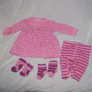 Hanna Andersson Play Day Dress Pants Socks 50 0-3